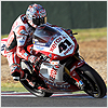 After about ten laps the lack of rear grip on Haga's bike began to affect his lap times...