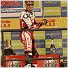 Michel Fabrizio celebrates on the podium.