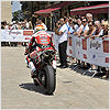 Michel Fabrizio entertains the crowd before his race...