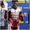 Fabrizio is happy to be on the Misano podium in front of the Italian crowd.
