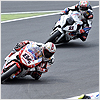 ...and at the start of the second lap he slipped, losing the rear of his 1198.