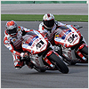 Both Fabrizio and Haga riding tight as they continue the testing