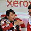Haga talks to his race engineer...
