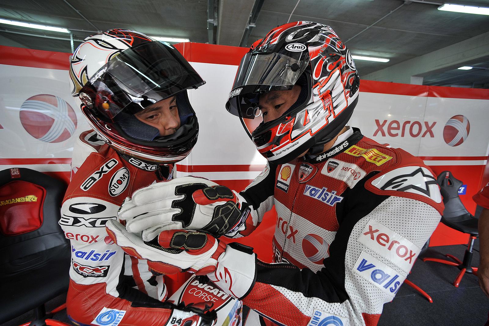 Haga and Michel Fabrizio for Ducati Xerox at the Imola  Italy  2009