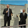 Jeff Jacobson (left), president, Xerox Global Graphic Communications, and Armando Zagalo de Lima (right), president, Xerox Technology, unveil the Xerox iGen 150 Press – the latest addition to the award-winning iGen family of digital color presses. On display at drupa 2012, the iGen 150 boosts productivity for customers by delivering high-quality output in half the time.